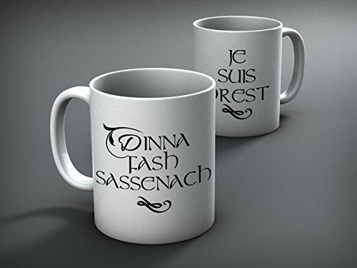 Outlander Inspired Double Mug Dinna Fash Sassenach Je Suis Prest - Funny Mug - Coffee Mug - Gifts - Funny - Couple Set Mugs