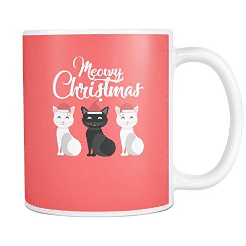 Meowy Christmas Xmas Mug for Cat Lovers White 11oz Mug
