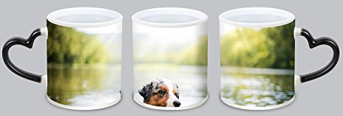 YHX Cute Australian Shepherd Customized Design Black Magic Color Changing Cup Coffee Mug Creative Milk Mug Personalized Tea Cup