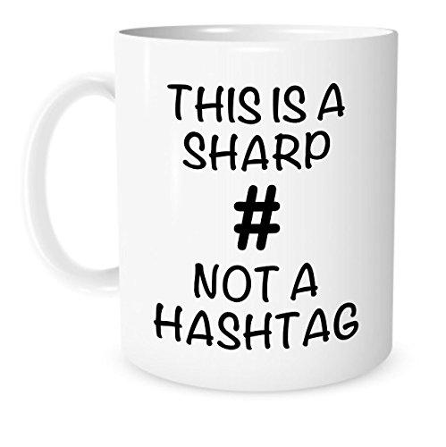 The Coffee Corner - This Is A Sharp Not A Hashtag Music Mug - 11 Ounce White Ceramic Coffee or Tea Mug - Gift for Music Teacher - Piano Teacher - Christmas Present - Guitar Teacher
