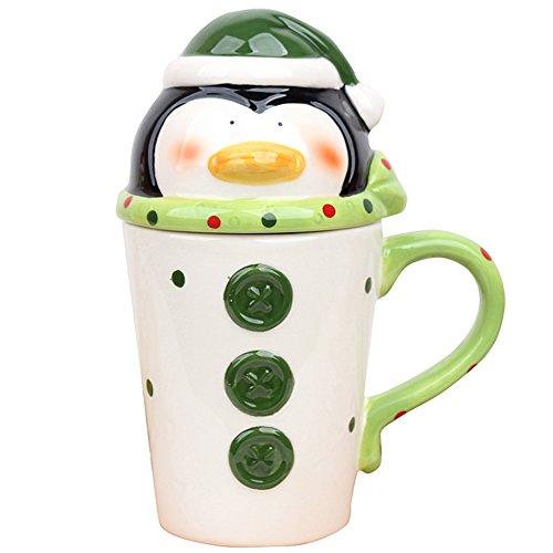 CHOOLD Christmas Mugs Santa Claus Elk Penguin Snowman Mugs Ceramic Christmas Coffee Mug Morning Mug Tea Mug Christmas Gift 14oz