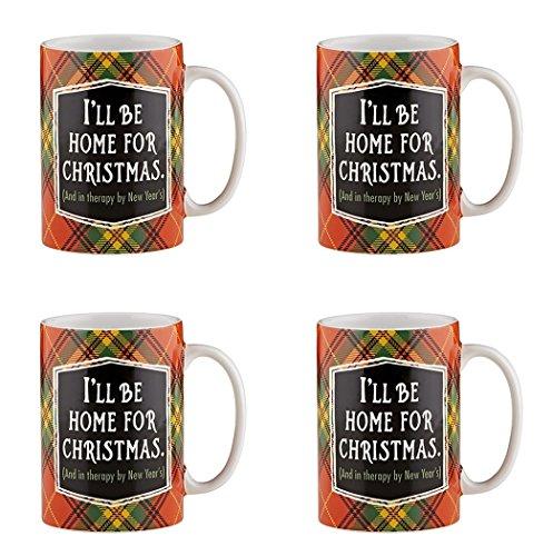 Holiday Plaidness Ill Be Home for Christmas Ceramic Christmas Mug 16 oz Set of 4