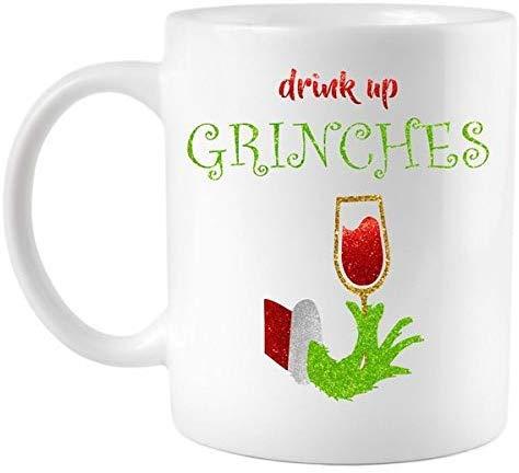 Drink Up Grinches Funny Christmas Coffee Mug Cartoon Coffee Cup Ceramic Cup Cartoon Cup Funny Cup 11 Oz Christmas Gift Birthday Present XMS-103