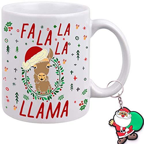 Funny Christmas Coffee Mug - Fa La La La Llama Santa Hat - PLUS Santa Claus Keychain - Best Christmas Holiday Gift for Friend Sister Mom Family Coworkers - 11 Oz Ceramic Tea Cup