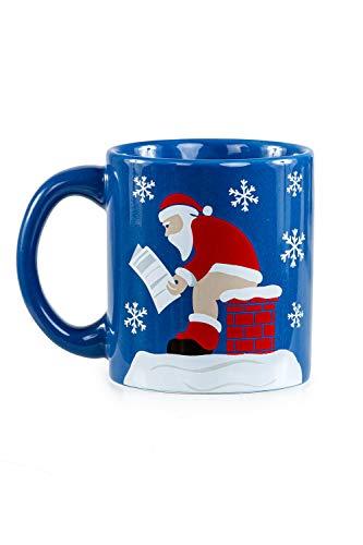 Funny Christmas Coffee Mugs Holiday Themed Coffee Cup Mugs Pooping Santa