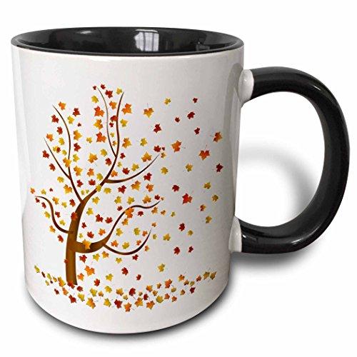 3dRose mug_62989_4Fall Tree with Leaves Two Tone Black Mug 11 oz Multicolor