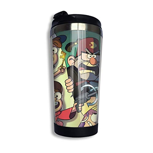 Vacuum Insulated Reusable Travel Coffee Tumbler Mug - Gravity Falls Stories Games Poster Stainless Steel Life Water Bottle Cup for Child Birthday Gifts - BPA Free 14 Oz