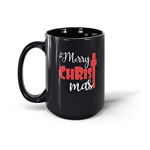 MarcoLo Cute Merry Christmas Coffee Mug Cross Christian Gifts For Men Women 19117 15oz Black Mug