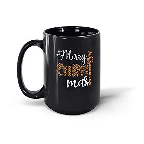 MarcoLo Leopard Merry Christmas Coffee Mug Cross Christian Gifts For Men Women 19117 15oz Black Mug