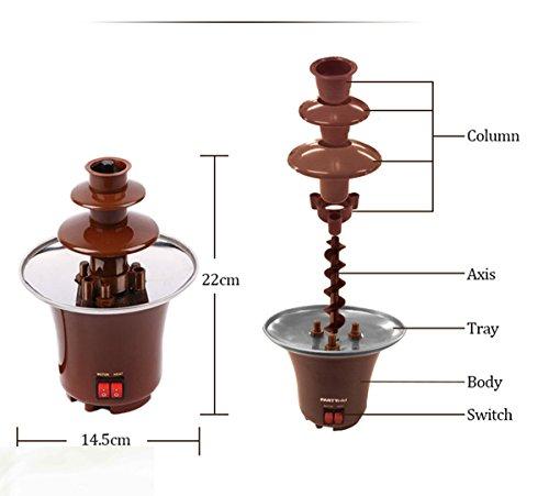 LoveQmall Mini Chocolate Fountain Creative Design Chocolate Melt With Heating Fondue Machine 3-Layers