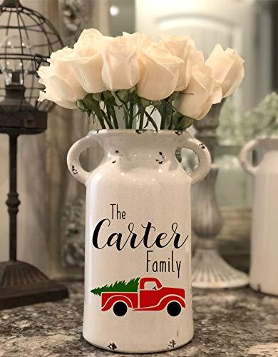 Farmhouse Christmas Milk Jug - Personalized Milk Can - Farmhouse Milk Can - Personalized Ceramic Milk Can - Farmhouse Style Ceramic Vase