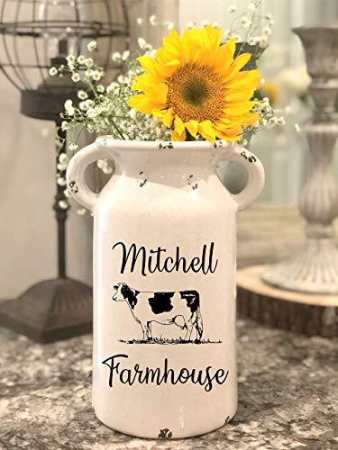 Farmhouse Style Ceramic Vase - Farmhouse Milk Jug - Personalized Milk Can - Farmhouse Milk Can - Personalized Ceramic Milk Can - Glass Vase