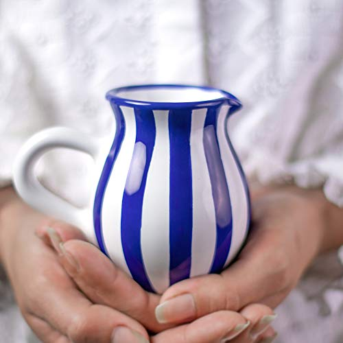 Handmade Dark Navy Blue Stripe Ceramic Creamer Milk Jug Pourer Pitcher Jug Pottery Housewarming Gift for Tea Coffee Lovers by City to Cottage