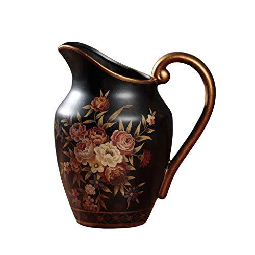 Vase Decorative Creative Ceramic Milk Jug Single Ear Table Coffee Table Furnishings ZHAOSHUNLI Color  Ceramic-Black Size  25cm15cm