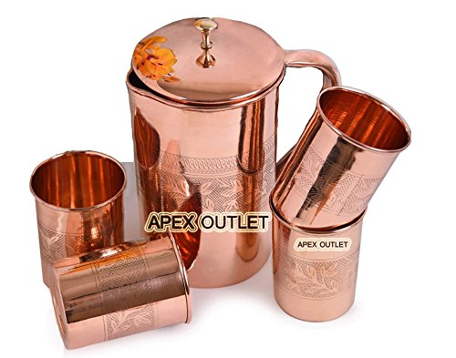 APEX OUTLET Pure copper pitcher Ayurveda Copper water Pitcher with lid Copper water Jug Copper pitcher set Copper pitcher with tumbler Copper jug Set Copper Embossed pitcher EMB Pitcher Set
