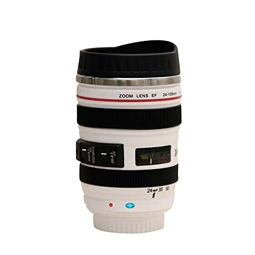 Camera Lens Coffee Cup Intricately Detailed Travel Thermos Top-grade Stainless Steel Insulated Cup w Easy Lid Wht