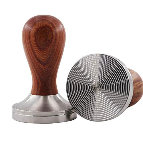 InBlossoms Espresso Tamper 58mm Premium Coffee Tamper Thick Aluminum Tamper Stainless Steel Hammer Wooden Handle