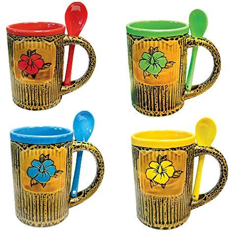 Mug Coffee and Tea Cup with Spoon Combo Set Beautiful Glazed Ceramic Flower on Leoprard Print Designer Coffee Mug 14 oz Set of 4 Assorted Colors