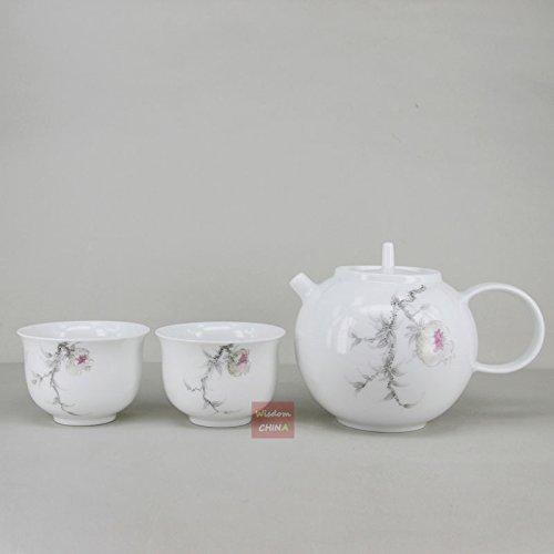 Chinese Jingdezhen over glaze Hand painted Porcelain Tea Set---1 teapot 2 cups