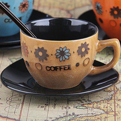 European-style coffee mug set Ceramic hand-painted tea set retro coffee set milk glass mug-A