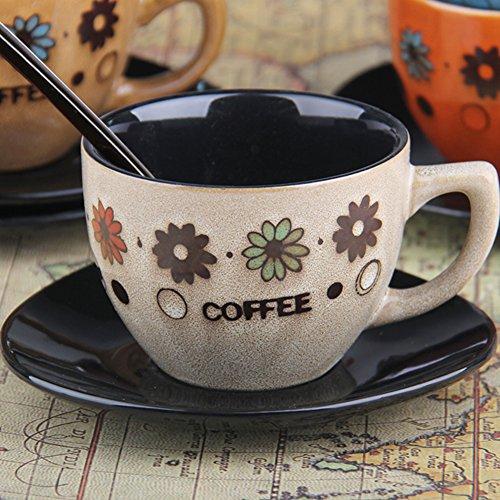 European-style coffee mug setCeramic hand-painted tea set retro coffee set milk glass mug-B