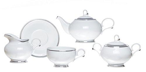 SILVER THREAD Classic Porcelain Hand Painted Tea Set 15 pcs Set of 6