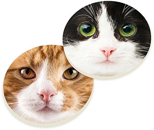 Orange Black and White Cat Faces 2 Piece Ceramic Car Coasters Set