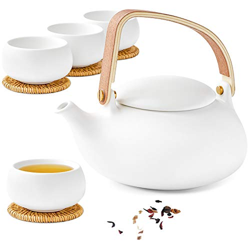 ZENS Teapot Cups SetModern Japanese Tea Pot Infuser 27 Ounce with 4 Frosted Ceramic Kongfu Teacup Rattan Coasters for Loose Tea or Women White