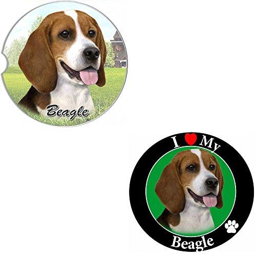 Bundle - 2 Items Beagle Absorbent Car Cup Coaster Circle Love Magnet