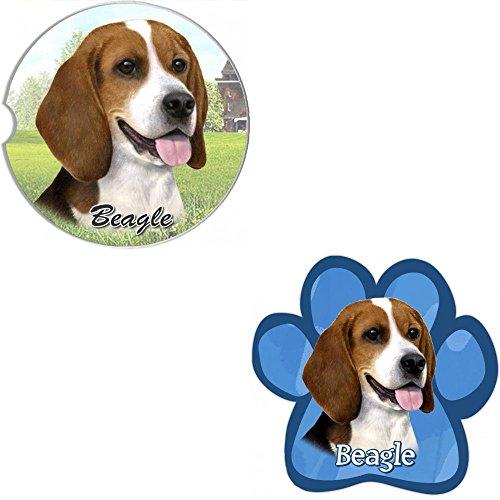 Bundle - 2 Items Beagle Absorbent Car Cup Coaster Paw Magnet