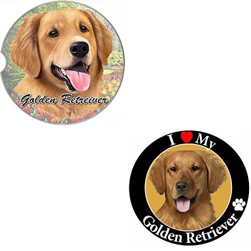 Bundle - 2 Items Golden Retriever Absorbent Car Cup Coaster Circle Love Magnet