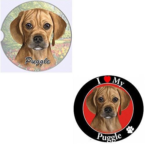 Bundle - 2 Items Puggle Absorbent Car Cup Coaster Circle Love Magnet