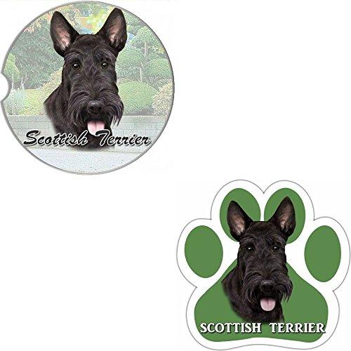 Bundle - 2 Items Scottie Absorbent Car Cup Coaster Paw Magnet