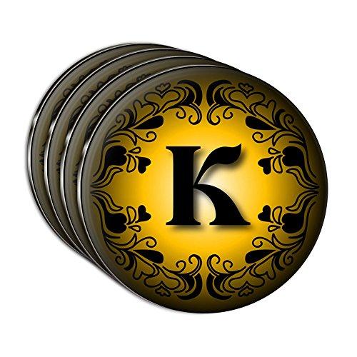 Elegant Letter K Initial Fancy Gold Black Acrylic Coaster Set of 4