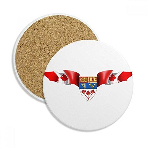 Canada Flag National Emblem Ceramic Coaster Cup Mug Holder Absorbent Stone for Drinks 2pcs Gift