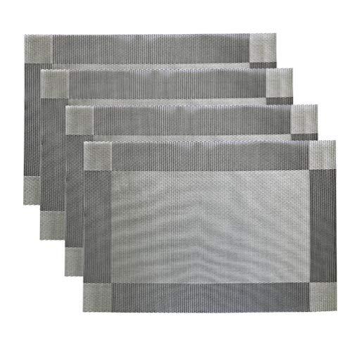 PartyMart Placemats Heat-Resistant Place mats PVC Table Mats Light Silver Set of 4