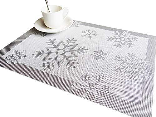 RIMOBUL Winter Snowflake Woven Vinyl Placemat Set of 6 Snow-Silver
