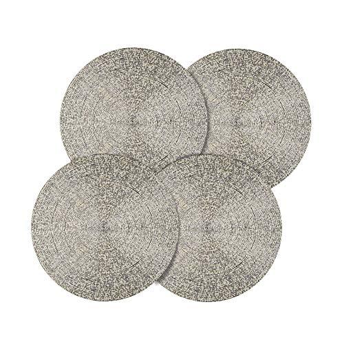 SARO LIFESTYLE Glass Bead Design Decorative Placemat - Set of 4 14 Silver