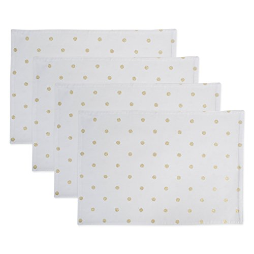 DII Z02221 Printed Reversible Polka Cotton Placemats Perfect for Brunch Catering Events Dinner Parties Buffets Spring Weddings or Everyday Use Metallic Gold Dots 4 Pack