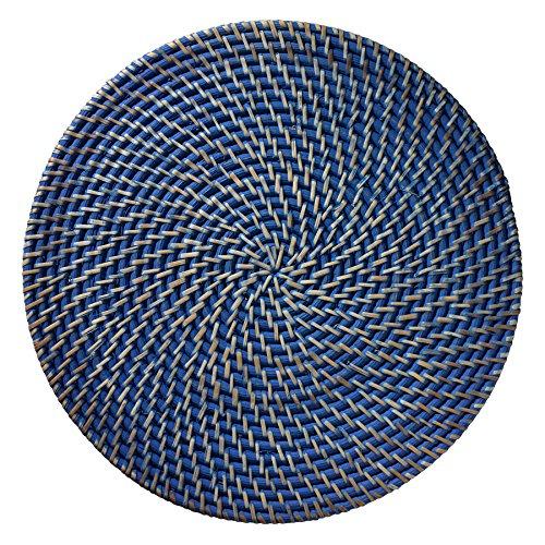 Merritt Rattan 145-inch Round Placemats Set of 6 Cobalt