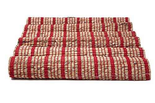 PARIJAT HANDICRAFT Handloom Woven Eco Friendly Placemat Set of 6 Banana Rope Striped Table Mat 13 X 19 Inch