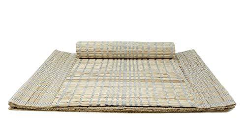 PARIJAT HANDICRAFT Handloom Woven Natural Eco Friendly Placemat Set of 6 Banana Fiber Striped Table Mat 13 X 19 Inch