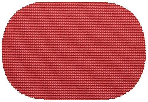 "Unique Custom 12 x 17 Inch Set Pack of 12 Oval ""Non-Slip Grip Texture"" Large Table Placemats Made of Washable Flexible PVC Plastic Jute w Bold Trendy Simple Vibrant Design Red Color"