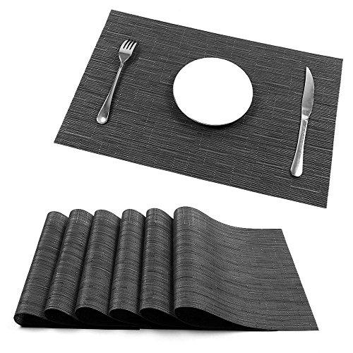 Placemats UArtlines Heat-resistant Placemats Stain Resistant Anti-skid Washable PVC Table Mats Woven Vinyl Placemats Set of 6 6pcs placemats B black