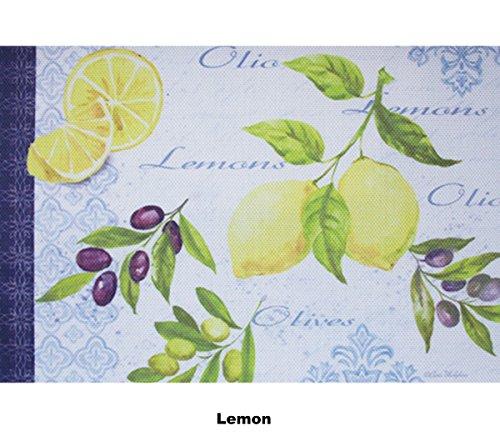 YO FUN Lemon PVC Placemat Sets Washable Non-Slip Placemats Rectangle Set of 6 Table Mats Heat-Insulation Placemat Home Kitchen Hotel Decoration 45x30CM
