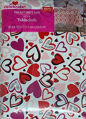 Vinyl Tablecloth 60x102 Valentine Heart Toss Theme