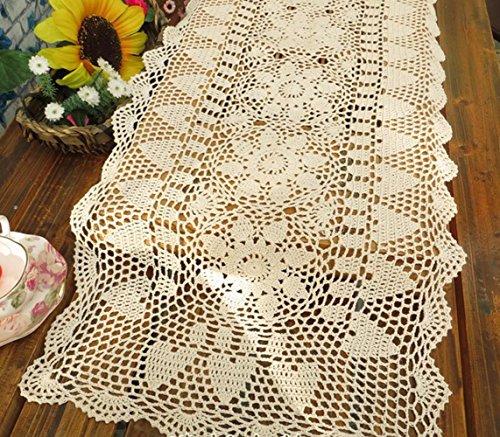 Gracebuy 16X63 Inch Beige Rectangle HANDMADE Crochet Lace Tablecloth Runner Doily