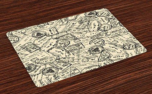 Lunarable Retro Place Mats Set of 4 Vintage Stamps Nostalgic Traveler International Letter Country Vintage Journey Image Washable Fabric Placemats for Dining Room Kitchen Table Decor Ivory Black