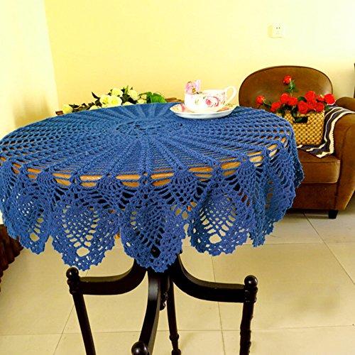 YIZUNNU Handmade Crochet Placemat Tablemat Floral Hollow Round Table Cloth DoilyDiameter 354 InchDark Blue