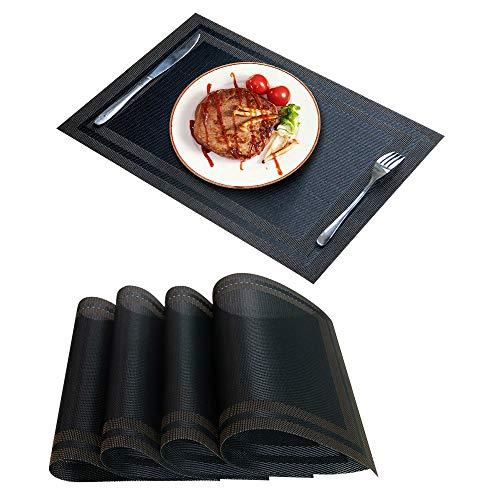 GloryTik Placemats Table Mats Woven Vinyl Place Mats Non-Slip Heat Resistant Table Placemats Washable Kitchen Table Dining Table Mats 4pcs Black